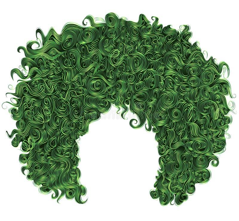 Modisches gelocktes grünes Haar Realistisches 3d kugelförmige Frisur lizenzfreie stockfotos