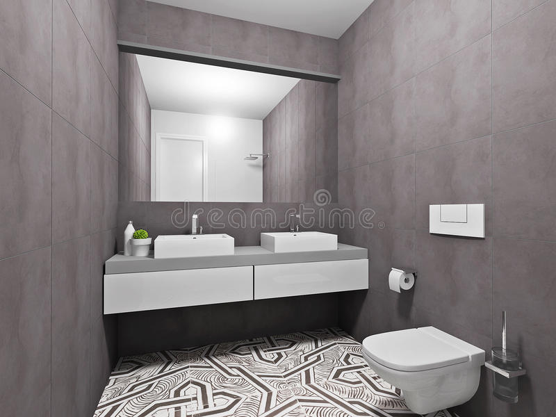 Download Modisches Graues Badezimmer Stockfoto   Bild Von Architektur,  Nett: 53373480
