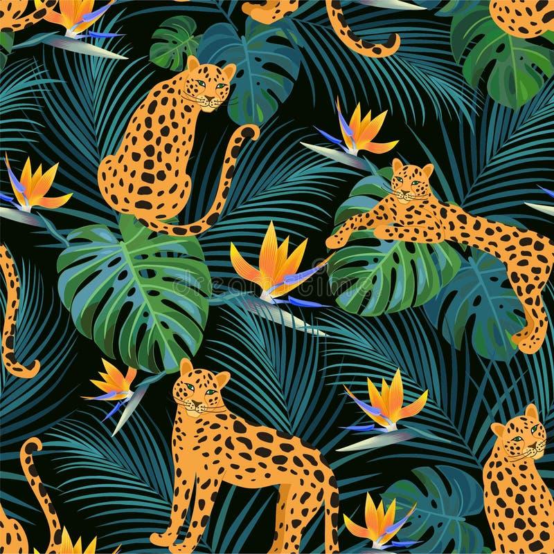 Modisches Leopardmuster mit tropischen Blättern und exotischen Blumen Vektornahtlose Beschaffenheit lizenzfreie abbildung