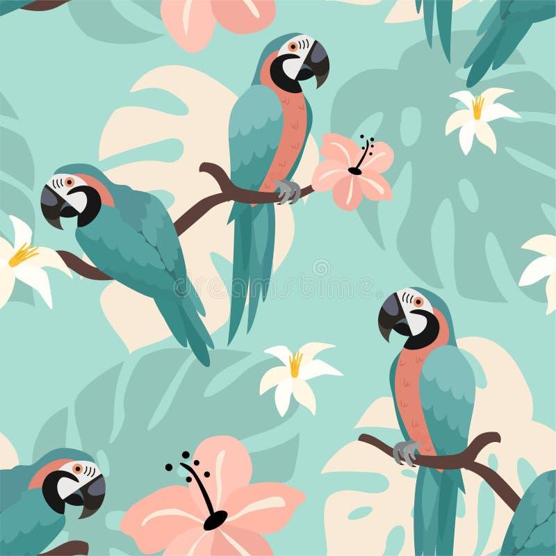 Modisches Muster mit Papageien und tropischen Blättern Vektornahtlose Beschaffenheit vektor abbildung