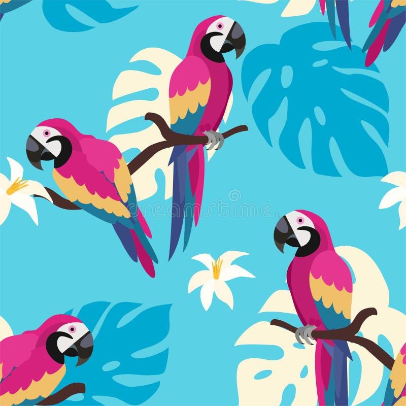 Modisches Muster mit Papageien und tropischen Blättern Vektornahtlose Beschaffenheit stock abbildung