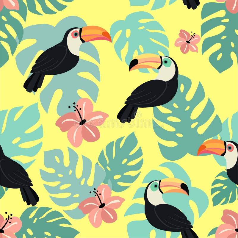 Modisches Muster mit Tukan und tropischen Blättern Vektornahtlose Beschaffenheit vektor abbildung