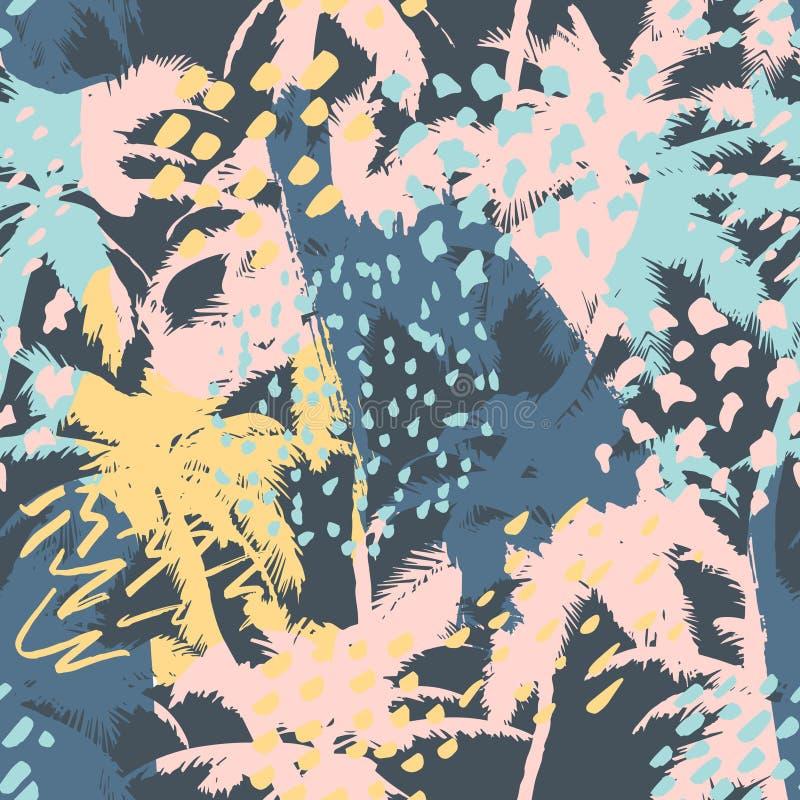 Modisches nahtloses abstraktes Muster mit Hand gezeichneten Beschaffenheiten Modernes abstraktes Design für Papier, Tapete, Abdec stock abbildung