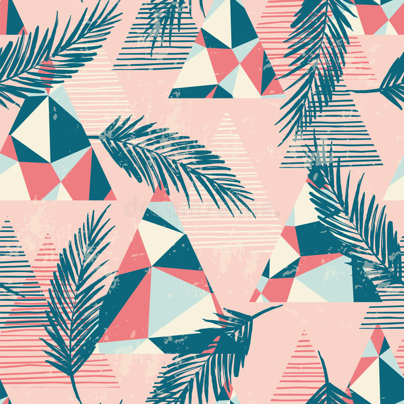 Modisches nahtloses exotisches Muster mit Palme und geometrischen Elementen vektor abbildung