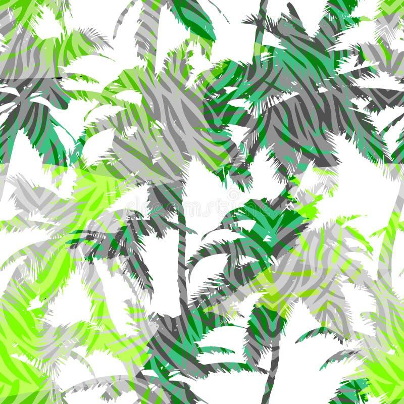 Modisches nahtloses exotisches Muster mit Palmen- und Tierdrucken Modernes abstraktes Design für Papier, Tapete, Abdeckung, Geweb vektor abbildung