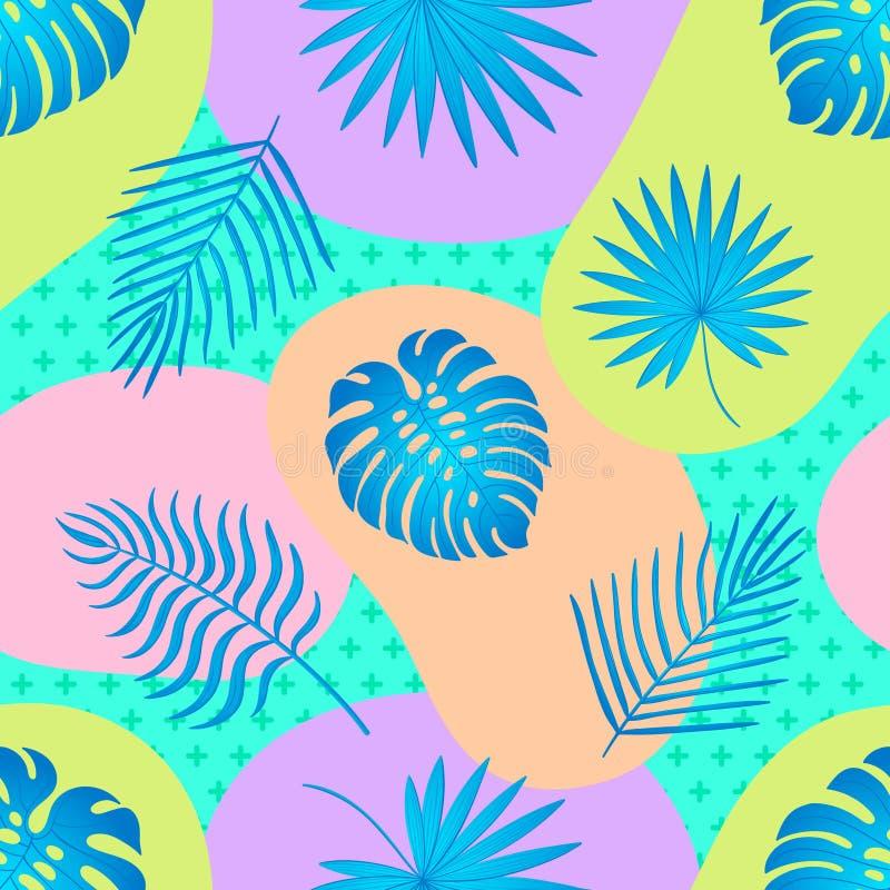 Modisches nahtloses Muster mit tropischen Bl?ttern lizenzfreie abbildung