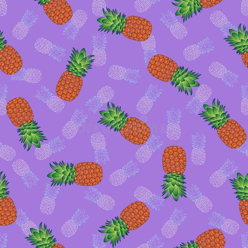 Modisches nahtloses Muster von hellen orange-grünen und hellen Ananas, gegen einen purpurroten Hintergrund, Vektor lizenzfreie abbildung