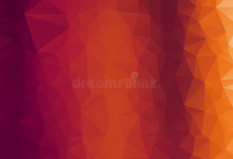 Modisches orange dreieckiges Muster des abstrakten Vektors Moderner polygonaler Hintergrund Buntes Mosaik lizenzfreie abbildung