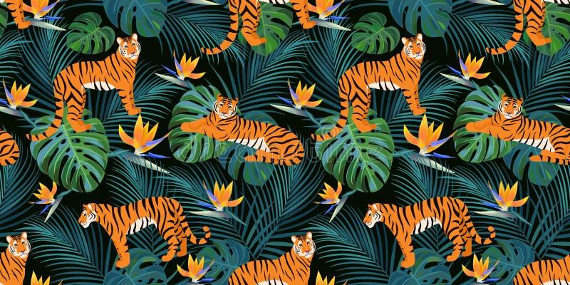 Modisches Tigermuster mit tropischen Blättern und exotischen Blumen Vektornahtlose Beschaffenheit lizenzfreie abbildung