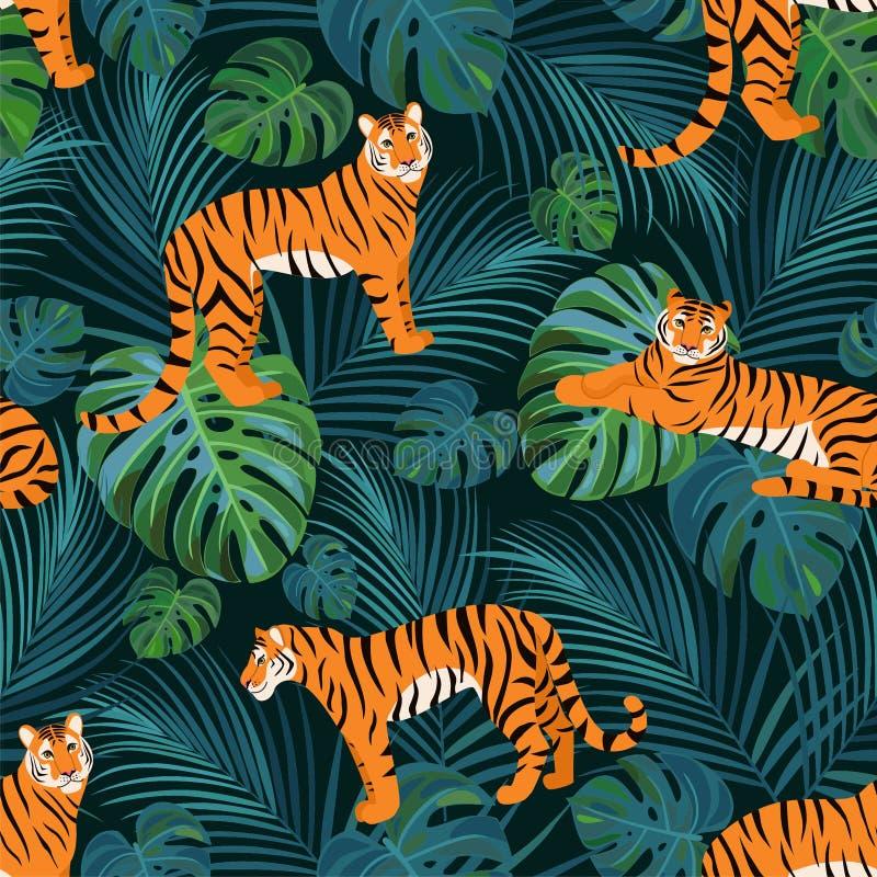 Modisches Tigermuster mit tropischen Blättern Vektornahtlose Beschaffenheit lizenzfreie abbildung