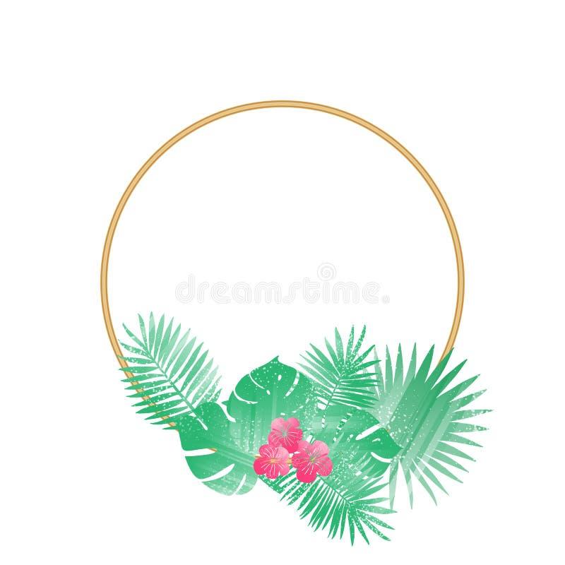 Modisches tropisches Blatt-Vektor-Design Runde Fahne stockbilder