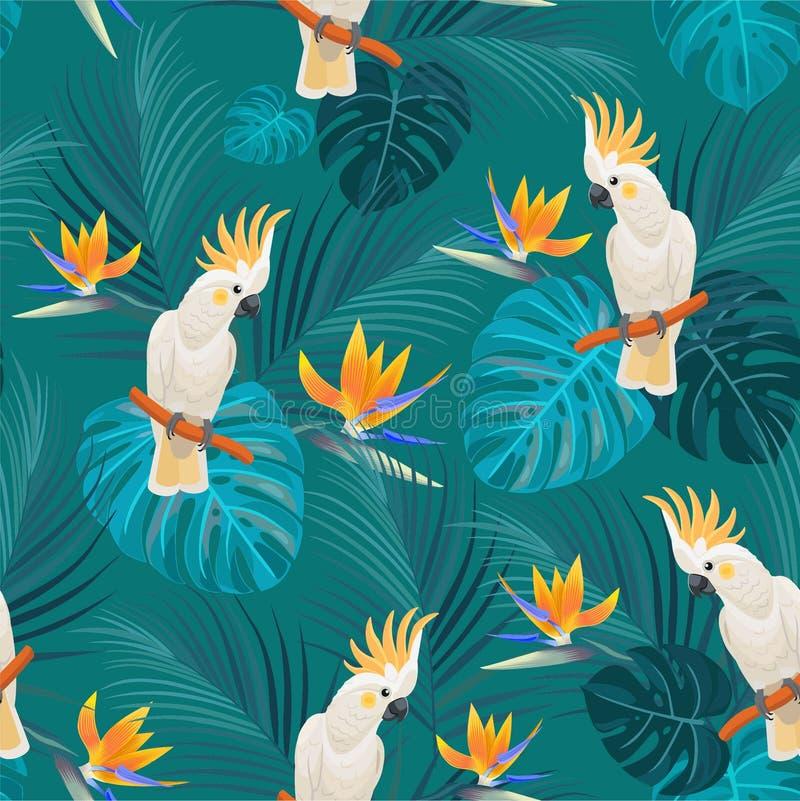 Modisches tropisches Muster mit Papageien und exotischen Blumen Vektornahtlose Beschaffenheit lizenzfreie abbildung