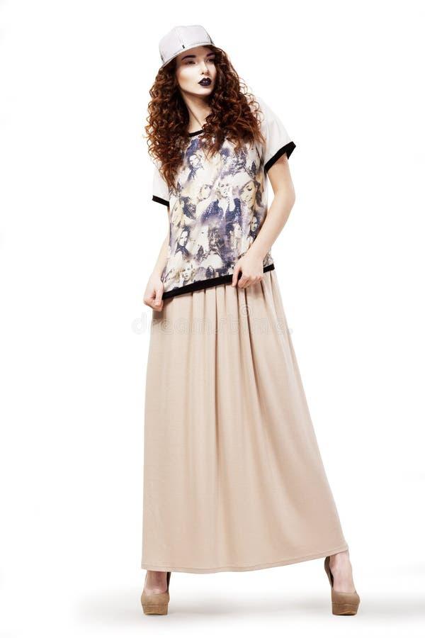 Free Modish Glamorous Woman In Fashion Dress And Cap Posing. Studio Shot Royalty Free Stock Images - 29527649