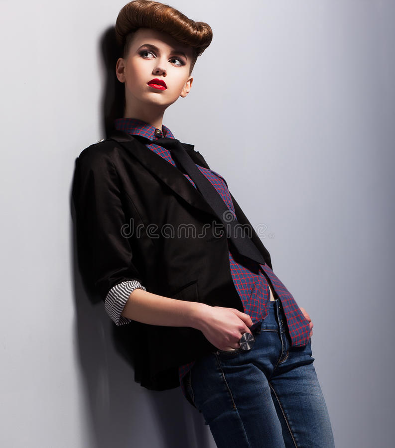 Download Modish Trend. Independent Nifty Woman In Pin-up Costume In Reverie. Elegance Stock Image - Image: 30333767