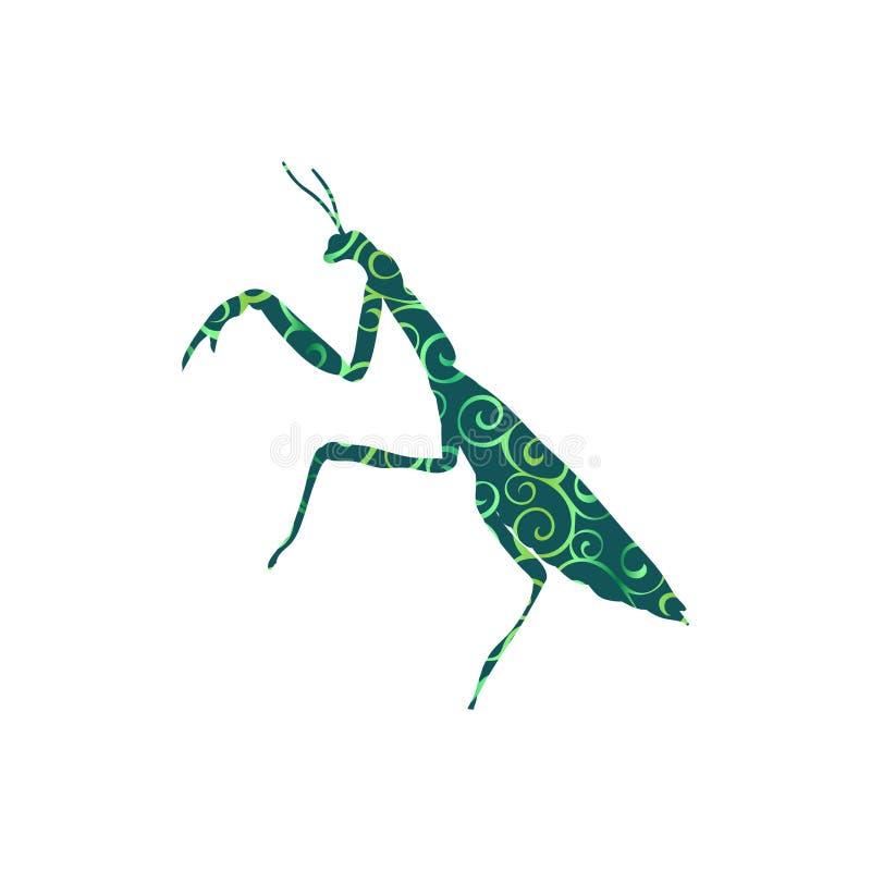 Modlenie modliszki insekta spirali wzoru koloru sylwetki zwierzę royalty ilustracja