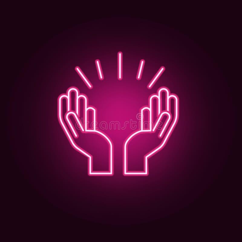 Modlić się ręki neonową ikonę Elementy religia set Prosta ikona dla stron internetowych, sie? projekt, mobilny app, ewidencyjne g royalty ilustracja