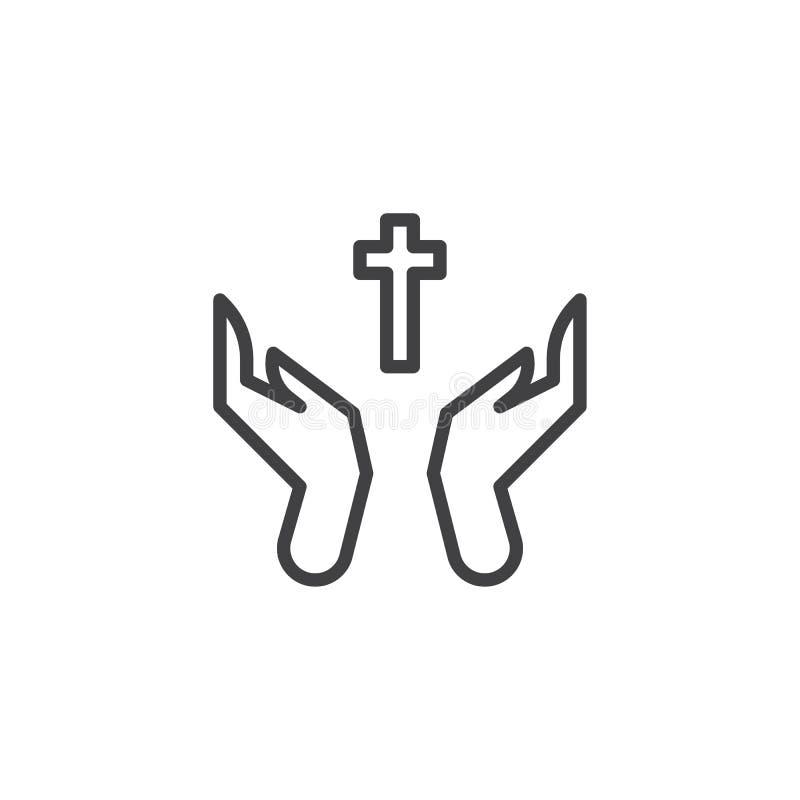 Modlić się ręki z świętą krzyż linii ikoną royalty ilustracja