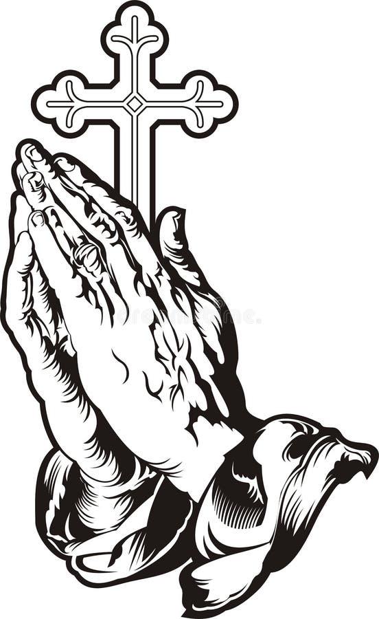 Modlić się ręki z przecinającą sylwetką royalty ilustracja