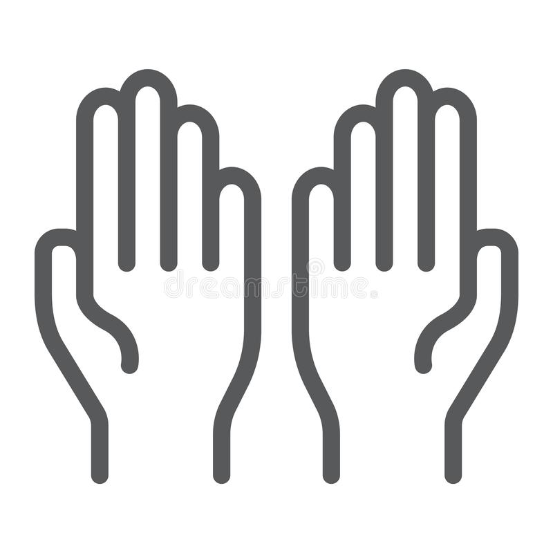 Modli się kreskową ikonę, wiara i religia, ręki podpisuje, wektorowe grafika, liniowy wzór na białym tle ilustracja wektor