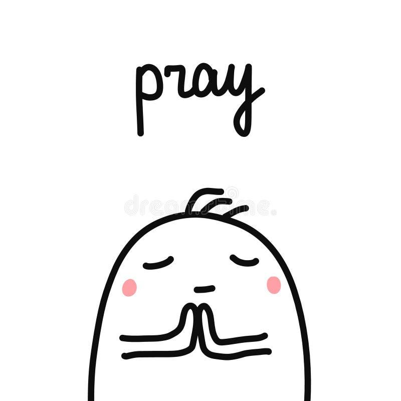 Modli się ręka rysującą ilustrację z modlenia marshmallow dla druków plakatów kart artykułów i psychologicznych czasopism ilustracji