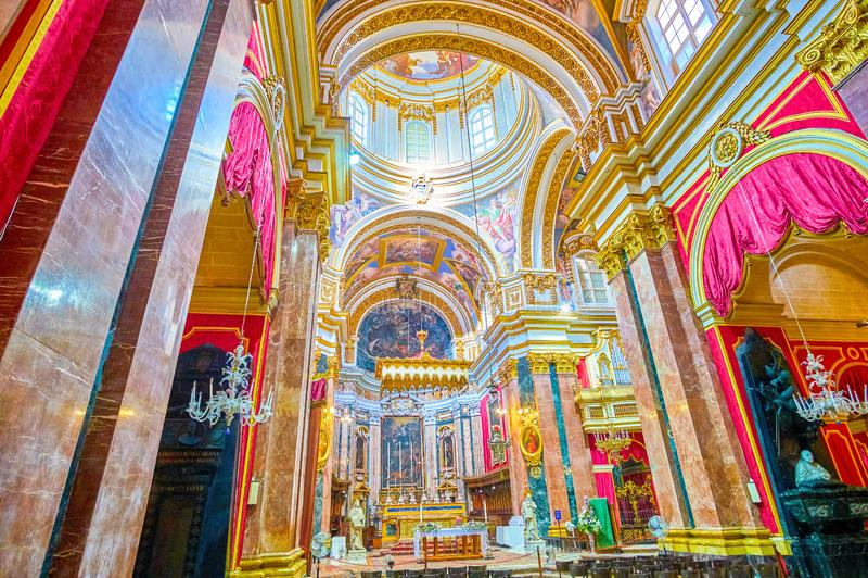 Modlitewna sala Metropolital katedra, Mdina, Malta obrazy stock