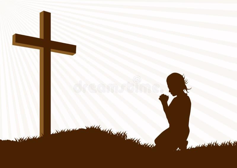 Modlitewna sylwetka ilustracji