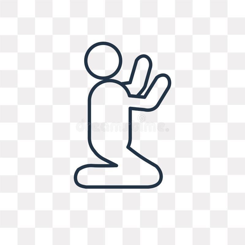 Modlitewna wektorowa ikona na przejrzystym tle, liniowy Pr ilustracja wektor