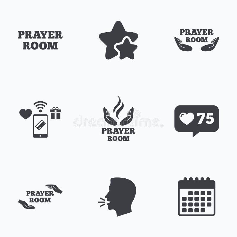 Modlitewne izbowe ikony Religia księdza symbole ilustracji