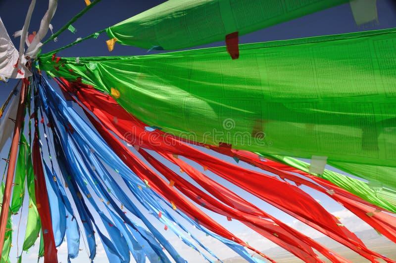 Modlitewne tybetańczyk flaga zwany Jingfan fotografia royalty free