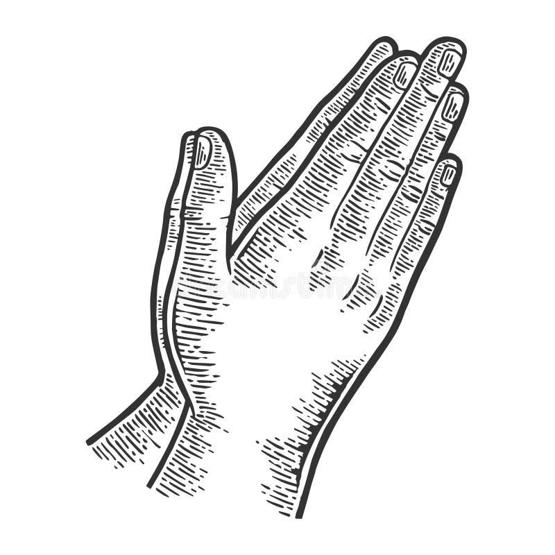 Modlitewny ręka gesta rytownictwa wektor royalty ilustracja