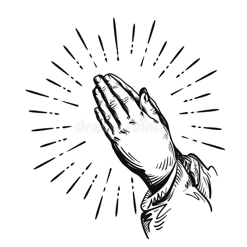modlitwa Nakreślenia modlenia ręki Wektorowa ilustracja odizolowywająca na biały tle ilustracja wektor