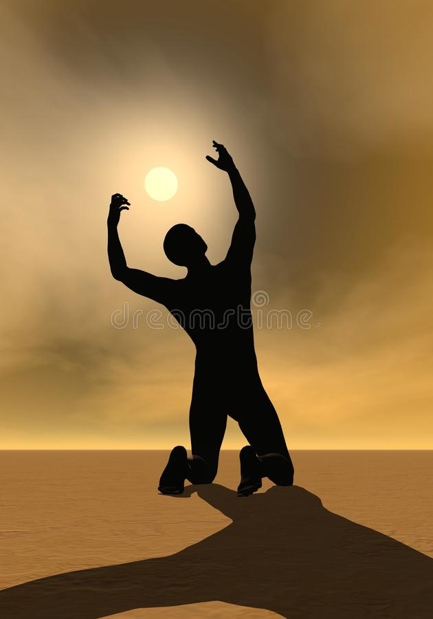 Modlitwa słońce - 3D odpłacają się ilustracji