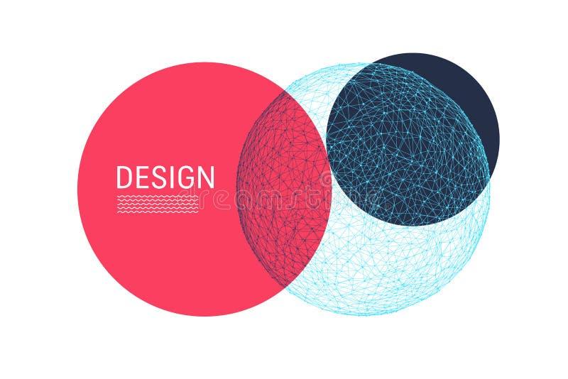 Modna abstrakcjonistyczna sfera Nowożytna nauki lub technologii ilustracja Wektorowy skład dla pokryw, plakaty, ulotki royalty ilustracja