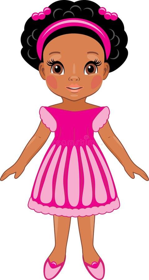 Modna afro mała dziewczynka w menchii sukni czekoladowy kreskówka rysunek opuszcza twarzy przepływów śmiesznego mleko ilustracja wektor