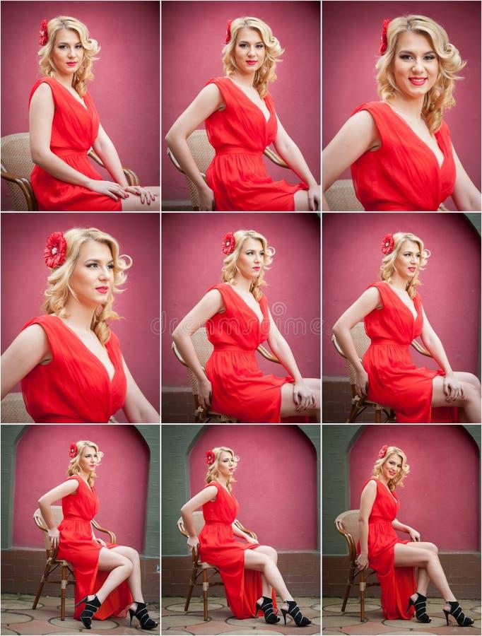 Modna atrakcyjna blondynki kobieta w czerwieni sukni obsiadaniu na krześle Piękna elegancka kobieta z czerwonym szalikiem pozuje  zdjęcie royalty free