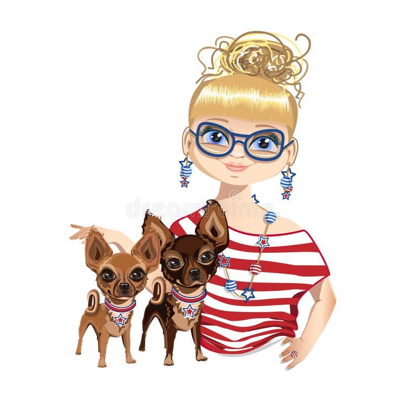 Modna dziewczyna z psem troszkę ilustracja wektor