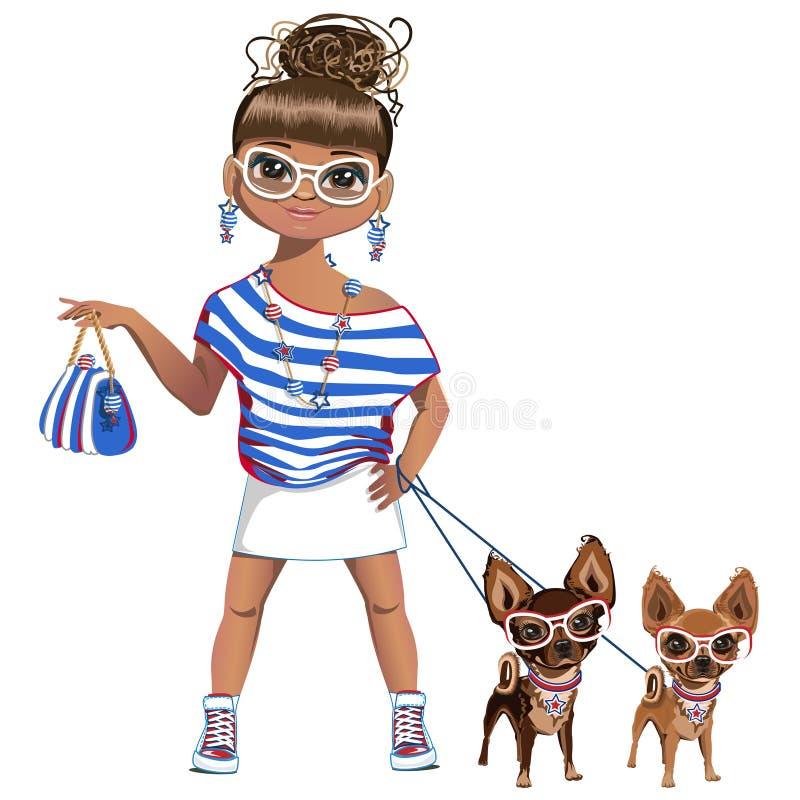 Modna dziewczyna z psem troszkę ilustracji