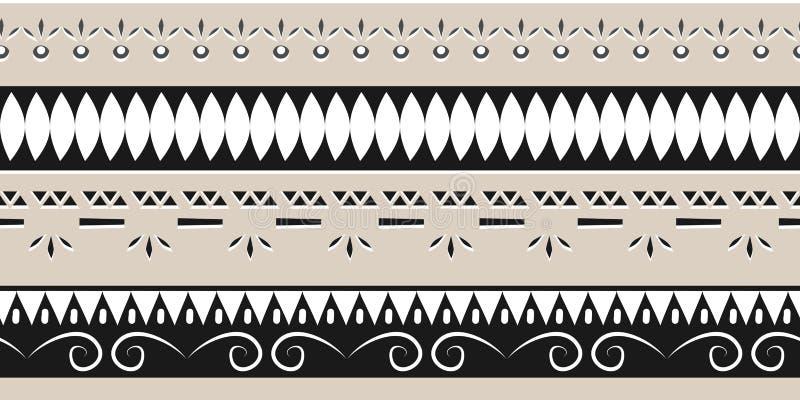 Modna etniczna plemienna bezszwowa deseniowa wektorowa ilustracja z geometryczną ręką rysującą paskuje ikat motywu batika tło mul ilustracja wektor