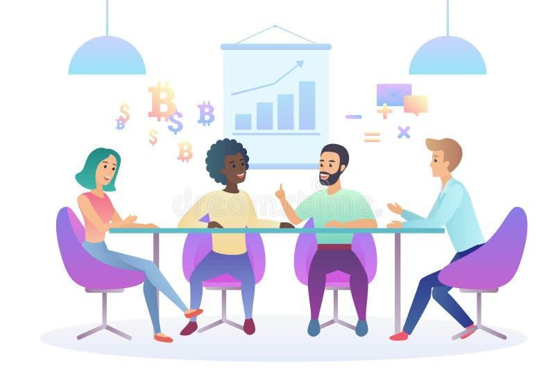 Modna gradientowa kolor ilustracja kreatywnie coworking centrum spotkania biznesowy biuro Wielokulturowa kreatywnie drużyna royalty ilustracja