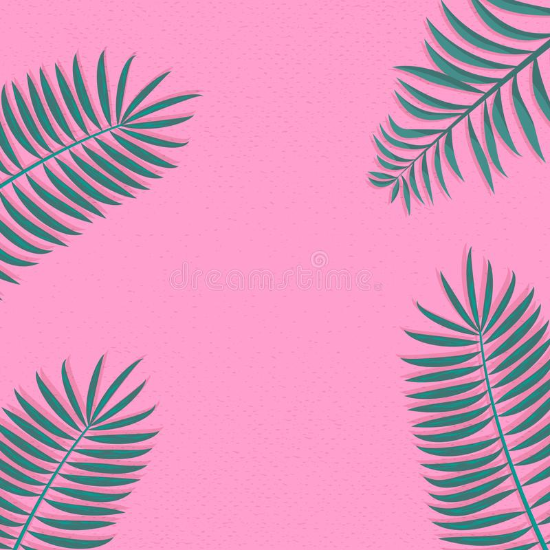Modna i Prosta palmowych liści dekoracji ramy wektoru ilustracja obrazy royalty free