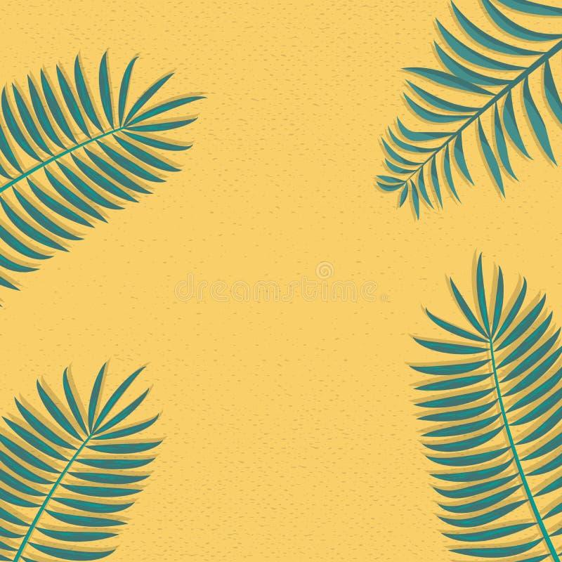 Modna i Prosta palmowych liści dekoracji ramy wektoru ilustracja zdjęcie royalty free