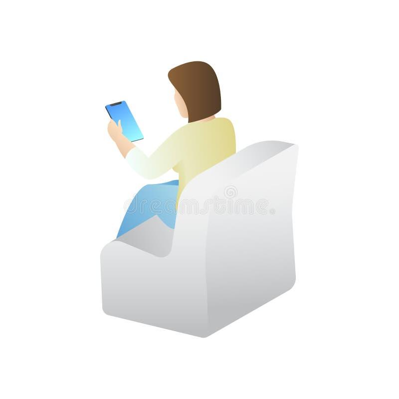Modna Isometric istota ludzka i gadżety, nastolatek, młoda dziewczyna, uczeń, uses zaawansowany technicznie technologia, telefon  ilustracji
