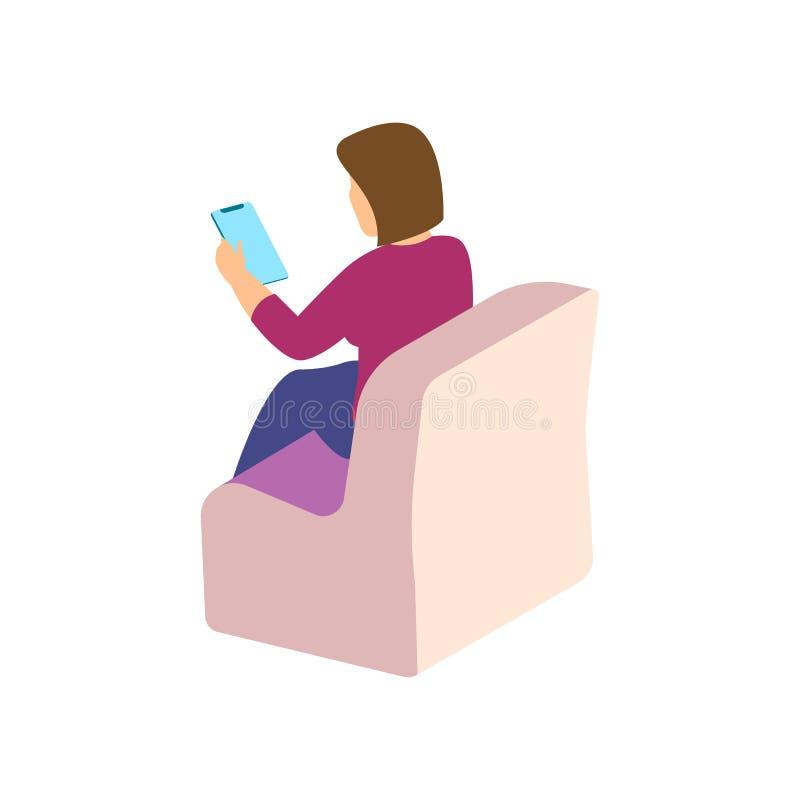 Modna Isometric istota ludzka i gadżety, nastolatek, młoda dziewczyna, uczeń, uses zaawansowany technicznie technologia, telefon  royalty ilustracja