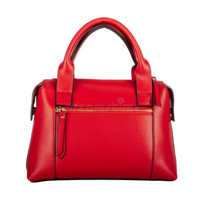 Modna jaskrawych kobiet czerwona klasyczna torebka zdjęcie royalty free