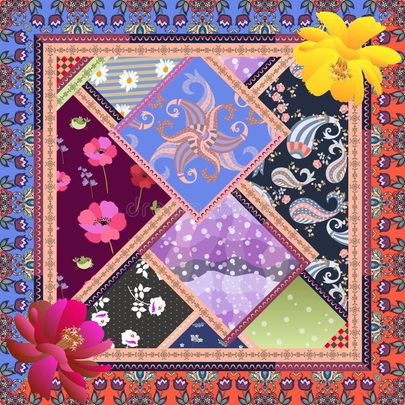 Modna kapitałka z jaskrawymi łatami w etnicznym stylu Paisley, polki kropka, kosmosów kwiaty, róże, maczki, stokrotka i ptaki, ilustracja wektor