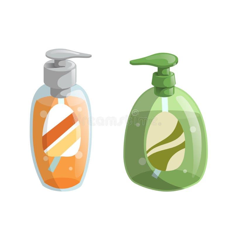Modna kreskówka stylu zieleń i pomarańczowe ciekłego mydła butelki z aptekarek ikonami ustawiać Higiena i opieka zdrowotna royalty ilustracja