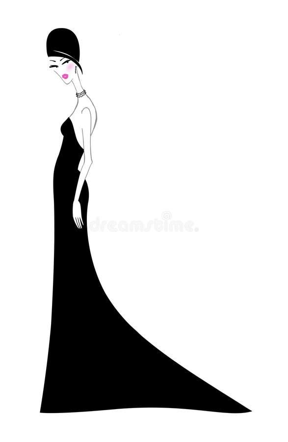 Modna młoda kobieta w Slinky Czarnej sukni wieczorowej ilustracji