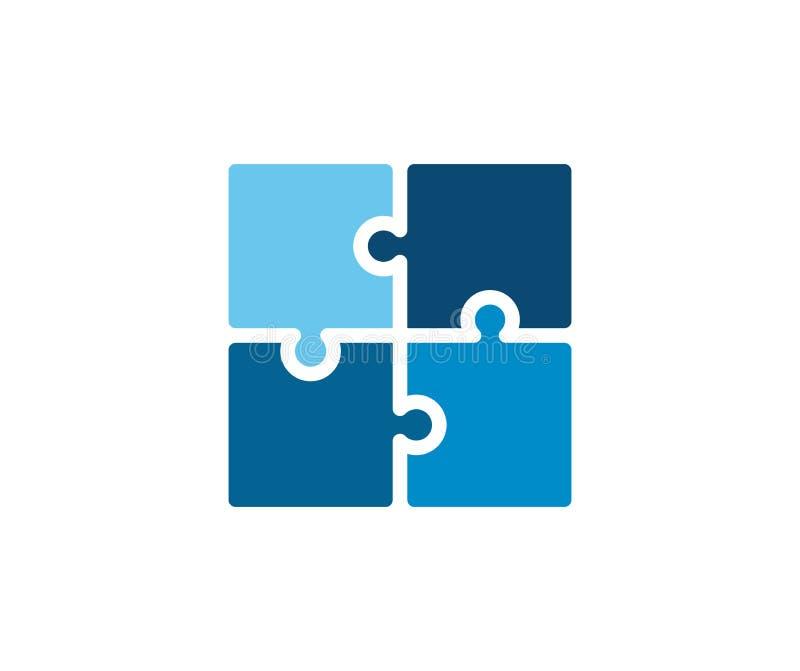 Modna płaska korporacyjna błękitna łamigłówki ikona Wektorowa ilustracja cztery łamigłówki dopasowywania kawałka dla pojęć gry, z ilustracji