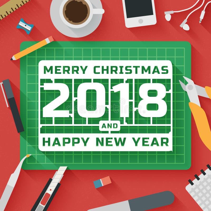 Modna Płaska projekt ilustracja: Wesoło boże narodzenia i 2018 Szczęśliwi nowy rok miejsc pracy ilustracji