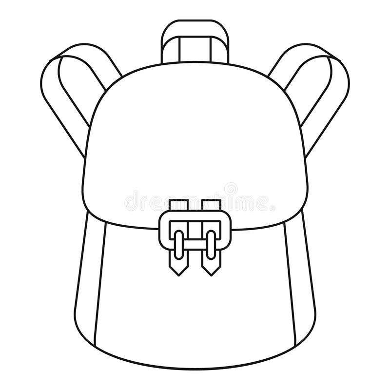 Modna plecak ikona, konturu styl royalty ilustracja